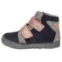 D.D.step, rózsaszín csillagos, magas szárú, átmeneti gyerek bőrcipő lányoknak