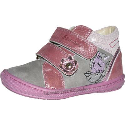 Szamos, szürke-pink, Unikornissal díszített, két tépőzáras átmeneti gyerekcipő lányoknak