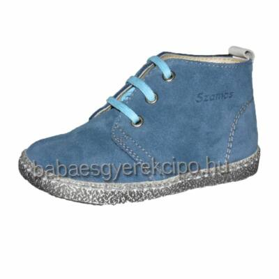 Szamos, kék színű, fűzős, fiú átmeneti bőrcipő
