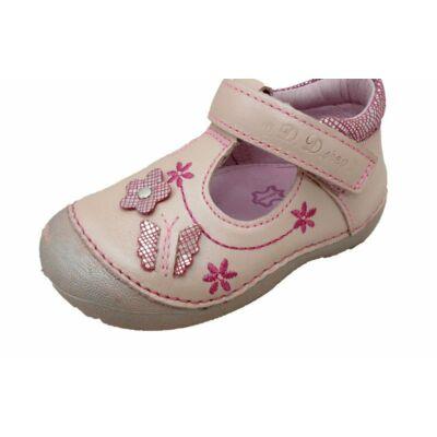 D.D.Step, virágos púder rózsaszín, felvezetőpántos szandálcipő lányoknak. - 24