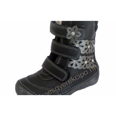 D.D.Step magas szárú,lány,tépőzáras és cipzáros,téli,gyerek bőr bakancs - 32