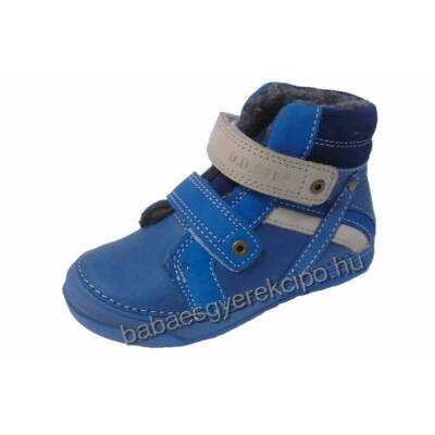 D.D.Step két tépős , kék színű bélelt gyerek bőr csizma