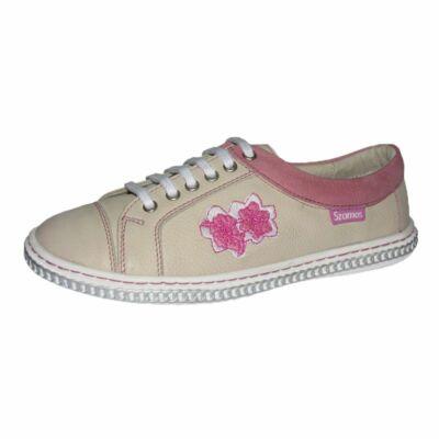 szamos, bézs lány gyerek átmeneti bőrcipő