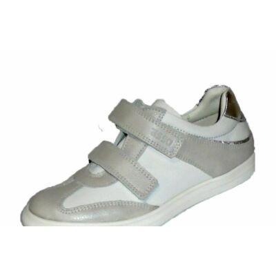 Fehér -bézs ezüsttel díszített Asso bőrcipő lányoknak 1