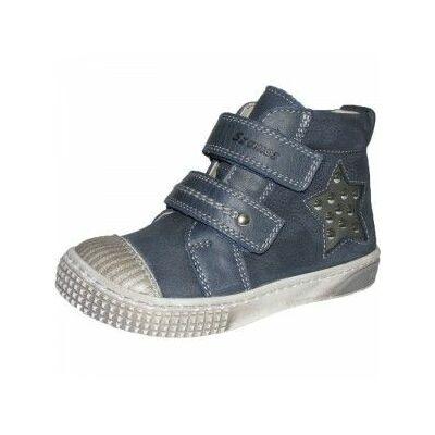 szamos, kék, csillagos átmeneti bőrcipő