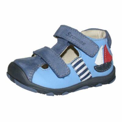 Szamos kék első lépés fiú gyerek bőrcipő